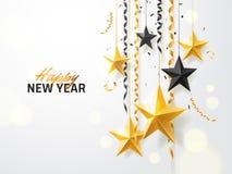 假日贺卡的,邀请,党飞行物,海报,横幅圣诞快乐和2018新年背景 金子 皇族释放例证