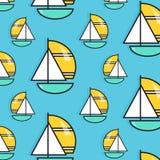假日远航样式 夏天水旅行墙纸 假期帆船印刷品 小船海军陆战队员纹理 巡航装饰 向量例证