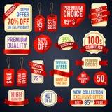 假日销售丝带横幅和贴纸徽章与增进文本传染媒介集合 免版税图库摄影