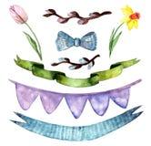 假日集合,复活节快乐,水彩花,丝带 向量例证