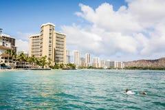 假期在一种热带手段在海洋附近 免版税库存图片