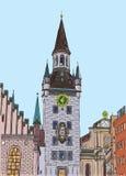 假期旅行邀请卡片或flayers手拉的系列与书法城市文字 免版税库存照片