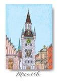 假期旅行邀请卡片或flayers手拉的系列与书法城市文字 免版税库存图片