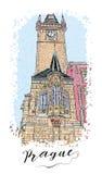 假期旅行邀请卡片或flayers手拉的系列与书法城市文字 免版税图库摄影