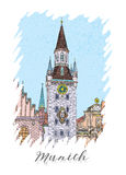 假期旅行邀请卡片或flayers手拉的系列与书法城市文字 库存图片