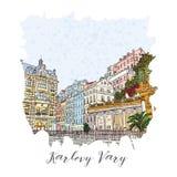 假期旅行邀请卡片或flayers手拉的系列与书法城市文字 库存照片