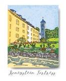 假期旅行邀请卡片或flayers系列与书法文字 免版税库存照片