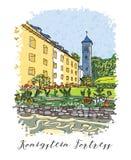 假期旅行邀请卡片或flayers系列与书法文字 免版税库存图片