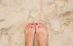 假期节假日 妇女放松在海滩的女孩脚特写镜头在晴朗的夏日 库存图片