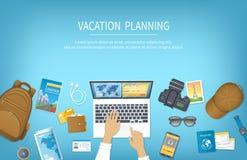 假期计划,包装清单,保留,售票旅馆 为旅行做准备,旅途,旅行 与行李的表 库存例证