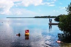 假期-钓鱼在船坞和人的男孩潜航在美丽的大海的美洲红树附近在完善的天空下 库存照片