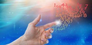 假装人的手的综合图象接触一个无形的屏幕 库存照片