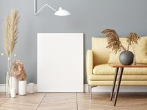 假装海报在斯堪的纳维亚行家客厅背景中 免版税库存图片