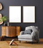 假装海报框架在家庭内部背景,斯堪的纳维亚样式中 免版税库存照片