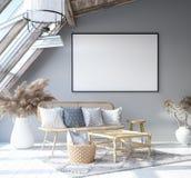 假装海报框架在家庭内部背景,斯堪的纳维亚漂泊样式客厅中在顶楼 向量例证