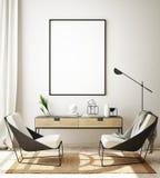 假装海报框架在现代内部背景,客厅,斯堪的纳维亚样式,3D中回报,3D例证 库存例证