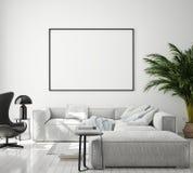 假装海报框架在现代内部背景,客厅,斯堪的纳维亚样式,3D中回报,3D例证 皇族释放例证