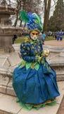 假装的人-阿讷西威尼斯式狂欢节2014年 库存图片