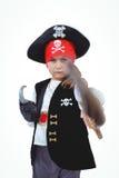 假装被掩没的女孩是海盗 库存照片