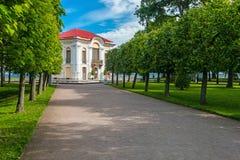 偏僻寺院宫殿和庭院树在Peterhof更低的公园  免版税库存图片