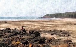 偏僻的海滩印象主义者的看法  库存图片