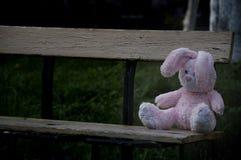 偏僻的被忘记的被放弃的女用连杉衬裤玩具小兔坐一个老长木凳和等待的所有者 免版税图库摄影