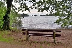 偏僻的长木凳在北欧被采取的沈默地方 库存照片