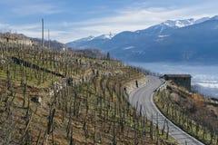 偏向路在瓦尔泰利纳,在桑治奥附近的一个谷在北意大利,毗邻的瑞士的伦巴第地区 免版税库存照片