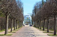 偏僻寺院亭子在Tsarskoye的Selo凯瑟琳公园 免版税库存图片