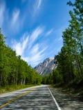 偏僻的乡下公路在阿拉斯加 库存图片