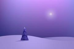 偏僻的圣诞树在冬天夜 免版税库存照片