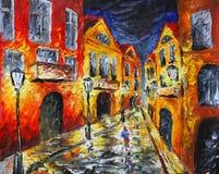 偏僻的多雨夜街道 抽象画布五颜六色的用花装饰的油原始绘画 免版税库存照片