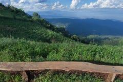 偏僻的椅子有Chiangm草、山和多云天空景色  库存图片