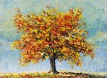 偏僻的秋天树,下落的叶子,云彩,绘 库存图片