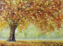 偏僻的秋天树,下落的叶子,云彩,绘 免版税图库摄影