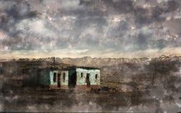 偏僻的风景的被放弃的房子 免版税库存照片