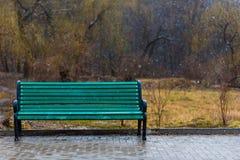 偏僻的绿色长凳 库存照片