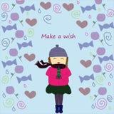 做一个愿望女孩冬天 免版税图库摄影