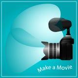 做一个电影、照相机和话筒 库存图片