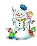 做一个雪人的愉快的孩子在冬天 向量例证