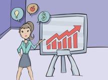 做一个介绍的女商人在办公室 免版税库存图片