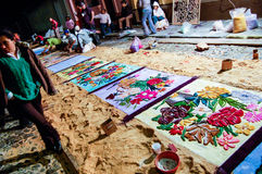 做一张圣周地毯在晚上,安提瓜岛,危地马拉 库存图片