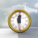 做一次平衡操作的女实业家的综合图象 图库摄影