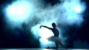 做一种锻炼的芭蕾舞女演员在教室,慢 影视素材