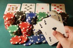 做三张相同和二张相同的牌的啤牌口袋一点 免版税库存图片