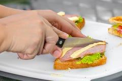 做三明治 免版税图库摄影