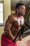 做三头肌的爱好健美者重量级的锻炼与缆绳 库存照片