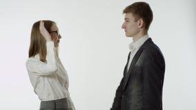 做上流五的企业男性和女性 股票视频