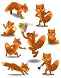 做不同的活动的动画片狐狸 免版税库存图片