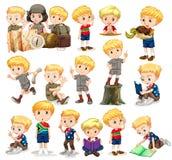 做不同的活动的白肤金发的男孩 免版税图库摄影